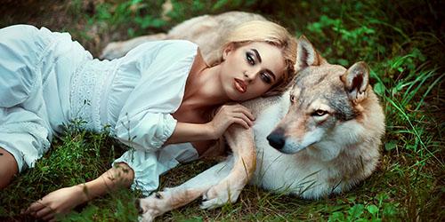девушка и волк