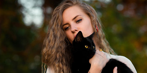 Держать на руках черного кота