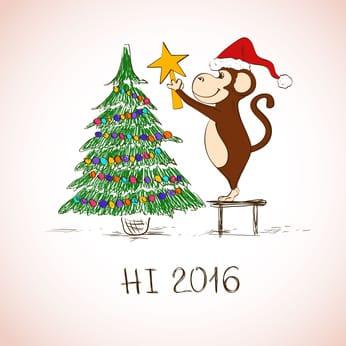 Новогодняя открытка - забавная Обезьяна украшают елку.