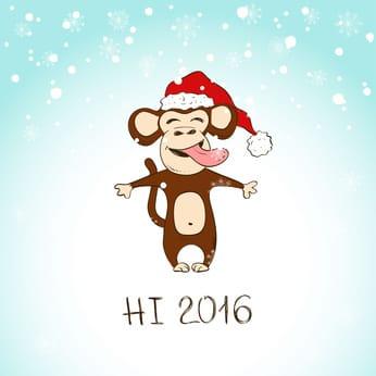 обезьяна поздравляет с новым 2016 годом