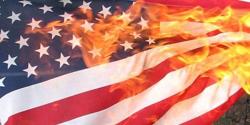 горящий американский флаг во сне