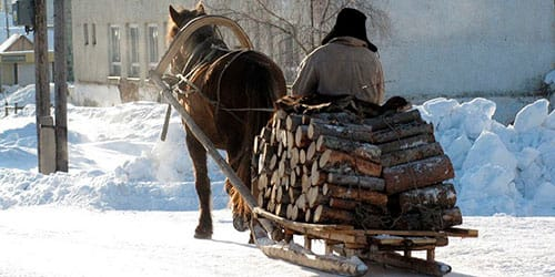 телега с дровами