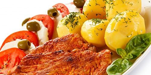 жареное мясо с картошкой
