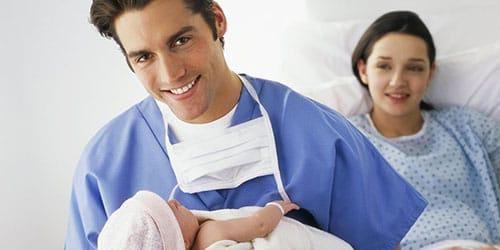 беременная жена рожает