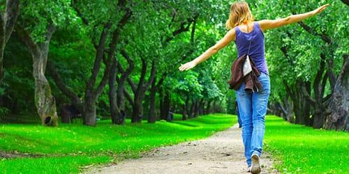 идти по лесной дороге