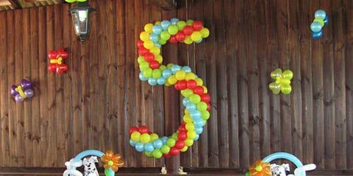 цифра пять из шариков