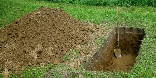 раскопать могилу