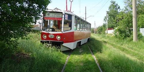 трамвай сошел с рельс