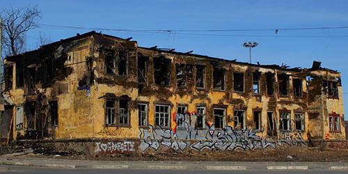 сгоревшее здание