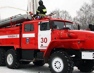Пожарная машина лестница и пожарные